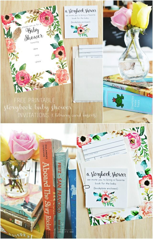 Free printable storybook baby shower invitations & library card inserts   MyFabulessLife.com