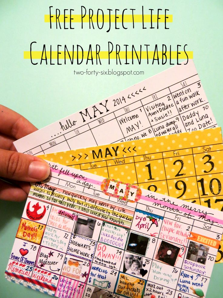Free Project Life Calendar Printables from two-forty-six