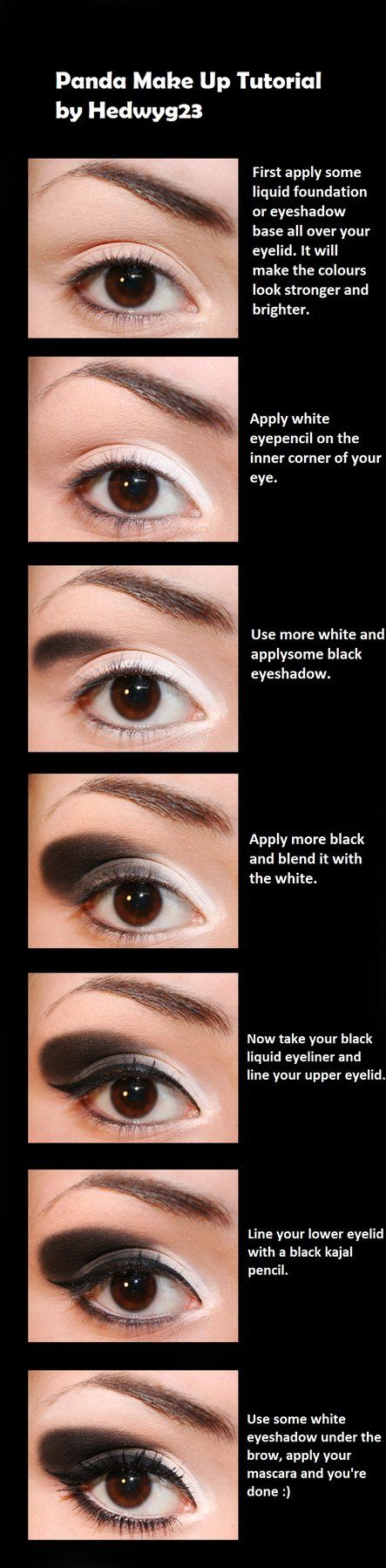 Panda Make Up Tutorial by *hedwyg23 on deviantART                                                                                                                                                                                 More