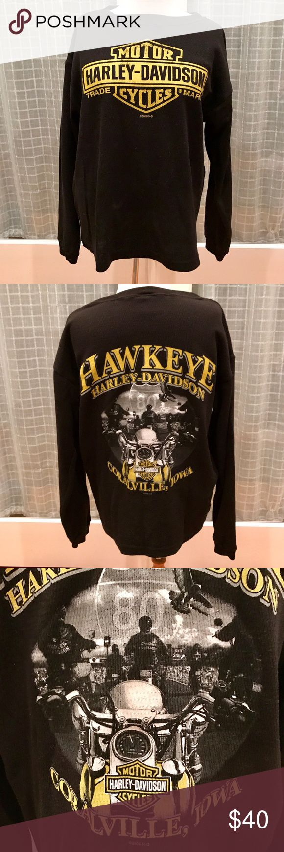 Harley-Davidson Sweatshirt Black cotton/poly blend waffle sweatshirt with the traditional logo shield in yellow on front. The back shows a great motorcycle motif and the location of Coralville, Iowa. Brand new condition. Harley-Davidson Shirts Sweatshirts & Hoodies