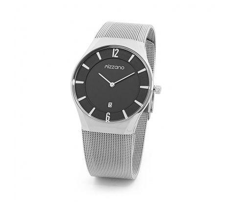 Mizzano Mens mesh silver with black dial watch