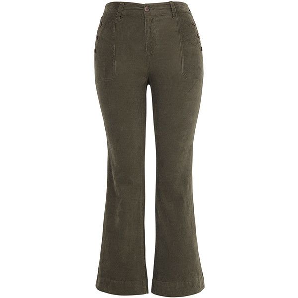Melissa McCarthy Burnt Olive Corduroy Jeans ($60) ❤ liked on Polyvore featuring plus size women's fashion, plus size clothing and plus size jeans