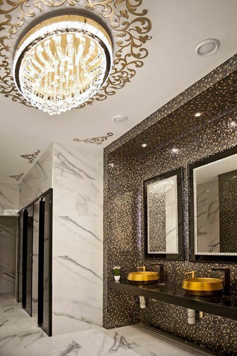 Black and white,mosaics, gold, toilet,restroom