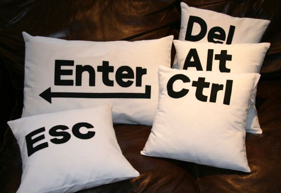 Hey, I found this really awesome Etsy listing at https://www.etsy.com/listing/128336408/ctrl-alt-del-enter-esc-pillow-cushion