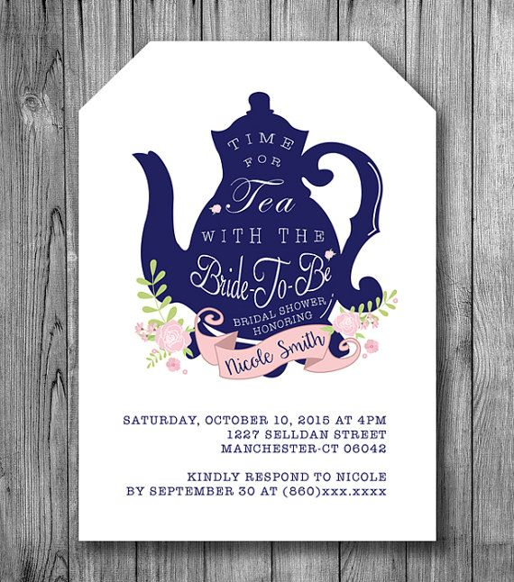 Bridal Shower Tea Invitation Bride To Be Tea by NicoleBCDesign