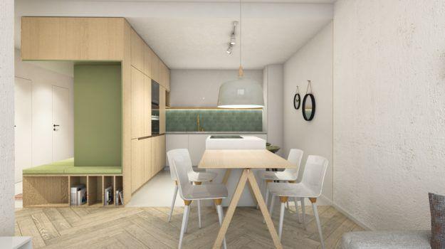 Návrh jedálne - interiér bytu Slnečnice, Bratislava - Interiérový dizajn / Dining room interior by Archilab