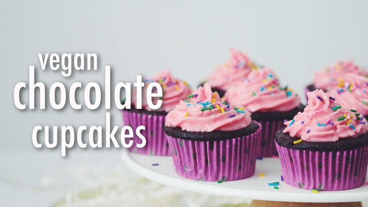 VEGAN CHOCOLATE CUPCAKES & RASPBERRY BUTTERCREAM | hot for food - YouTube