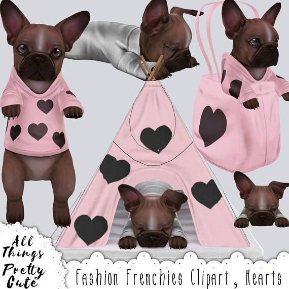 Chocolate Brown Frenchies Clipart, Hearts, commercial use french bulldog clipart, French bulldog art, bulldog stickers, bulldog clipart