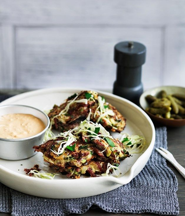 Corned beef and cabbage fritters with Russian-style sauce reicpe :: Gourmet Traveller