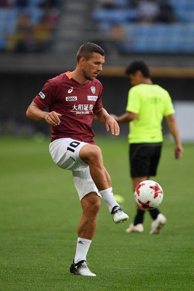 Lukas Podolski of Vissel Kobe warms up prior to the preseason friendly match between Vegalta Sendai and Vissel Kobe at Yurtec Stadium Sendai on July 22, 2017 in Sendai, Miyagi, Japan.