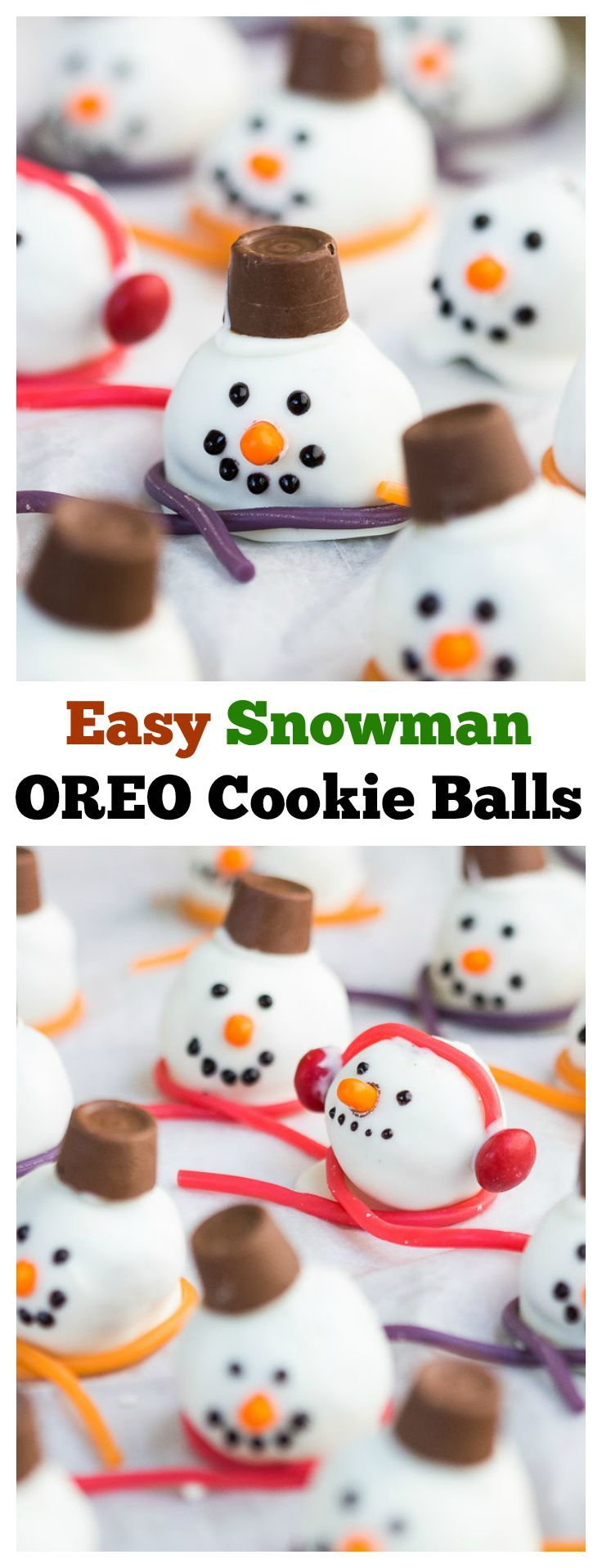 Add a special treat to your Christmas cookie plates with these Easy Snowman Oreo Cookie Balls! They are so fun to make and even better to eat! #OREOCookieBalls #ad