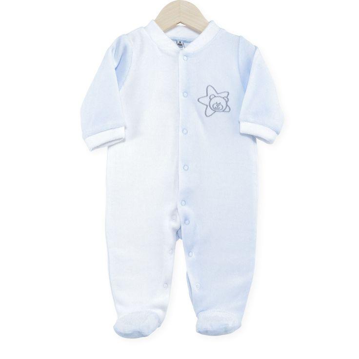 "Pyjama naissance en velours blanc/ bleu ciel ""Nounours"" #Pyjama #naissance #garcon #leskinousses"