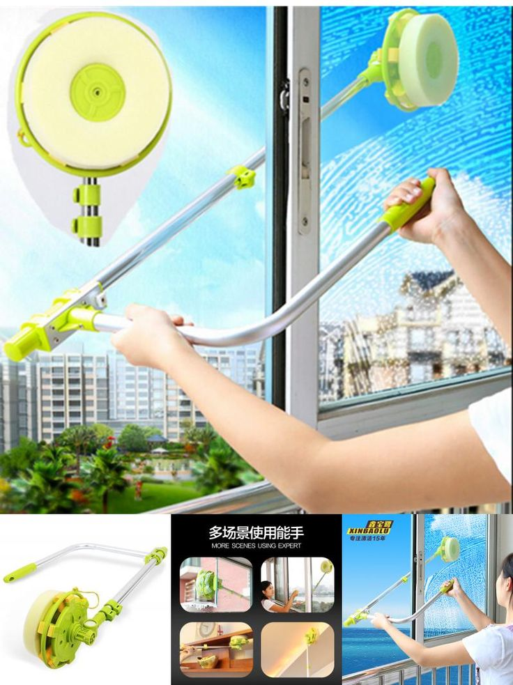 [Visit to Buy] Glass Window Cleaning Tool Retractable Pole Clean Window Device Dust brush washing Double Faced Glass Scraper Wipe cleaner brush #Advertisement