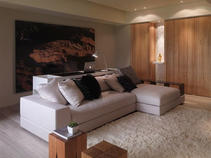 Oversized art/murals, neutral decor, Asian influence: home-designing.com