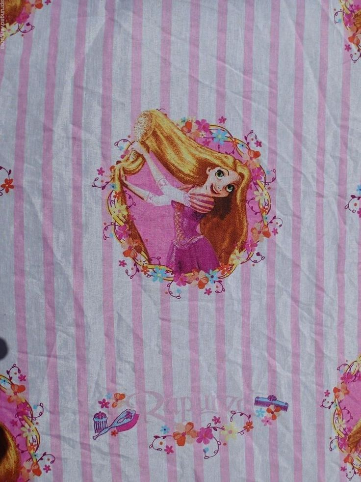 DISNEY Rapunzel Tangled Twin Bed Sheet Fitted Girls Bedding Pink White Striped