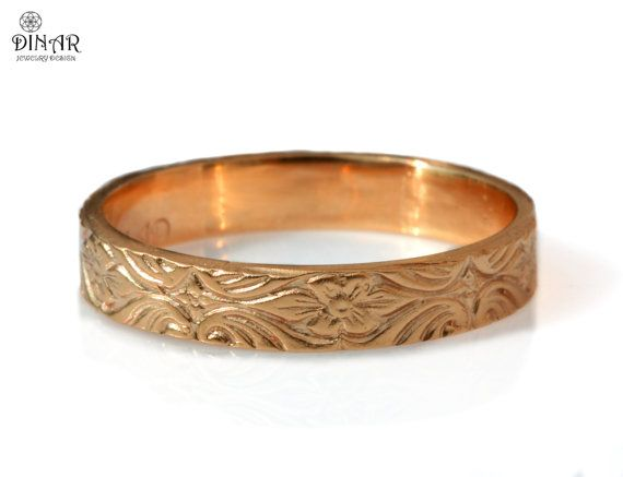 14k rose gold wedding band 4mm thin gold ring  by DINARjewelry, $424.00