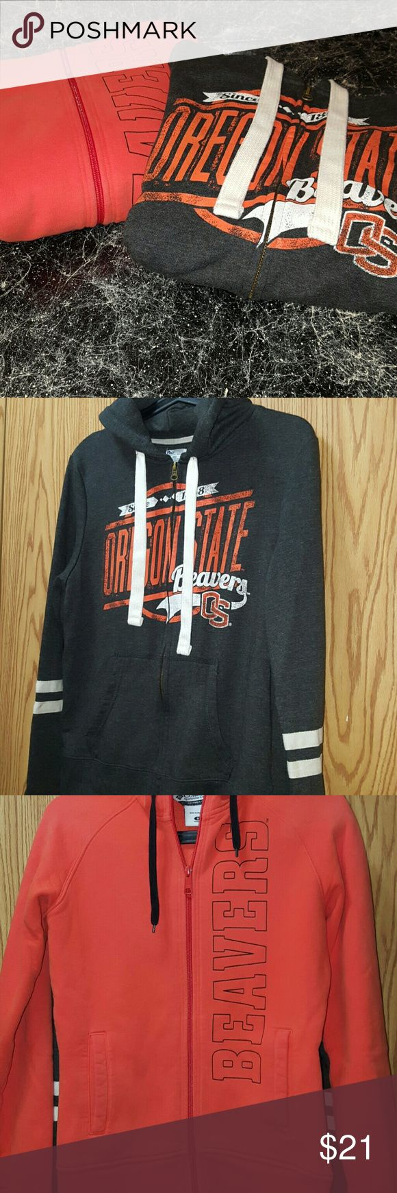 2 Oregon State Beavers Zip up Hooded Sweatshirts 1 Columbia Orange Oregon Beavers Zip up Hoodie  1 Oregon State Beavers Grey,Orange & White Zip up Hoodie  Excellent condition  Size Small Columbia Tops Sweatshirts & Hoodies
