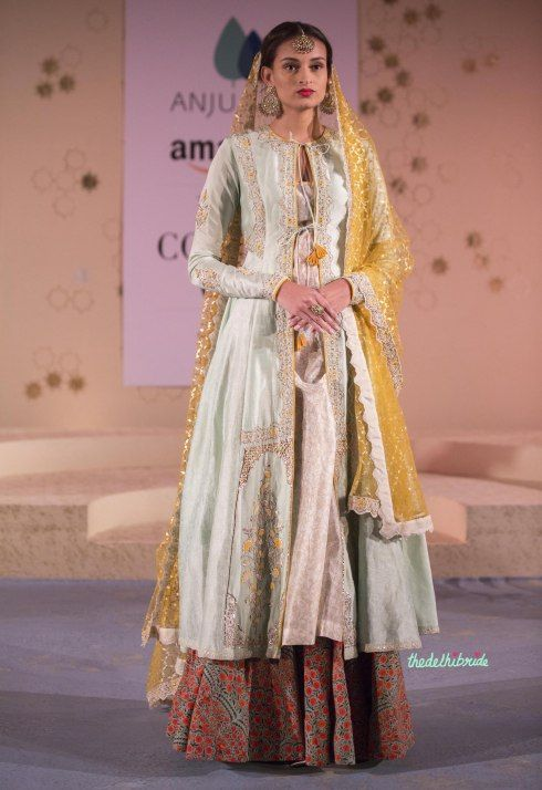 Floral Print Lehenga, Yellow Foil Print Dupatta & Pale Blue Jacket 1 - Anju Modi - Amazon India Couture Week 2015