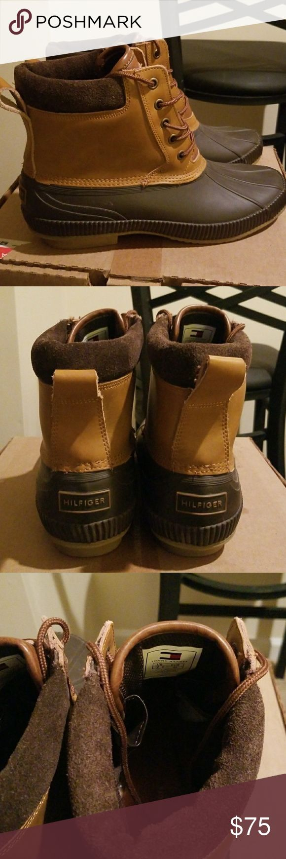 Tommy Hilfiger Duck Boots For sale are a pair of NEW Tommy Hilfiger Duck boots. These shoes have only been worn to try on. (I bought them from poshmark and realized I bought the wrong size!) THEY are in fantastic condition and would be a great pair of shoes for the winter!   Send me your offers! Tommy Hilfiger Shoes Rain & Snow Boots