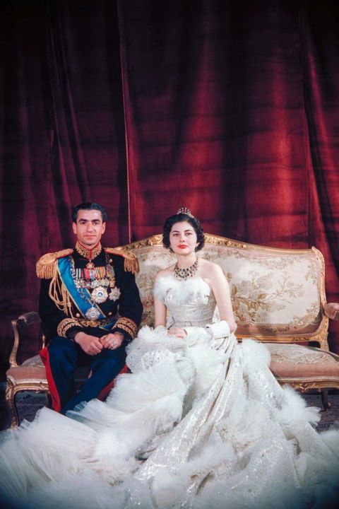 Shah Mohamed Reza Pahlevi and Queen Soraya of Iran in 1951: From Princess Diana to Queen Letizia, take a look back at the evolution of royal bridal looks.