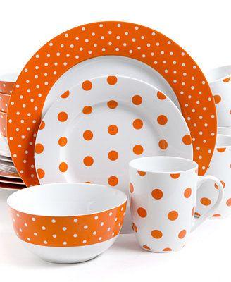 Isaac Mizrahi Dots Luxe Orange 16-Pc. Set, Service for 4