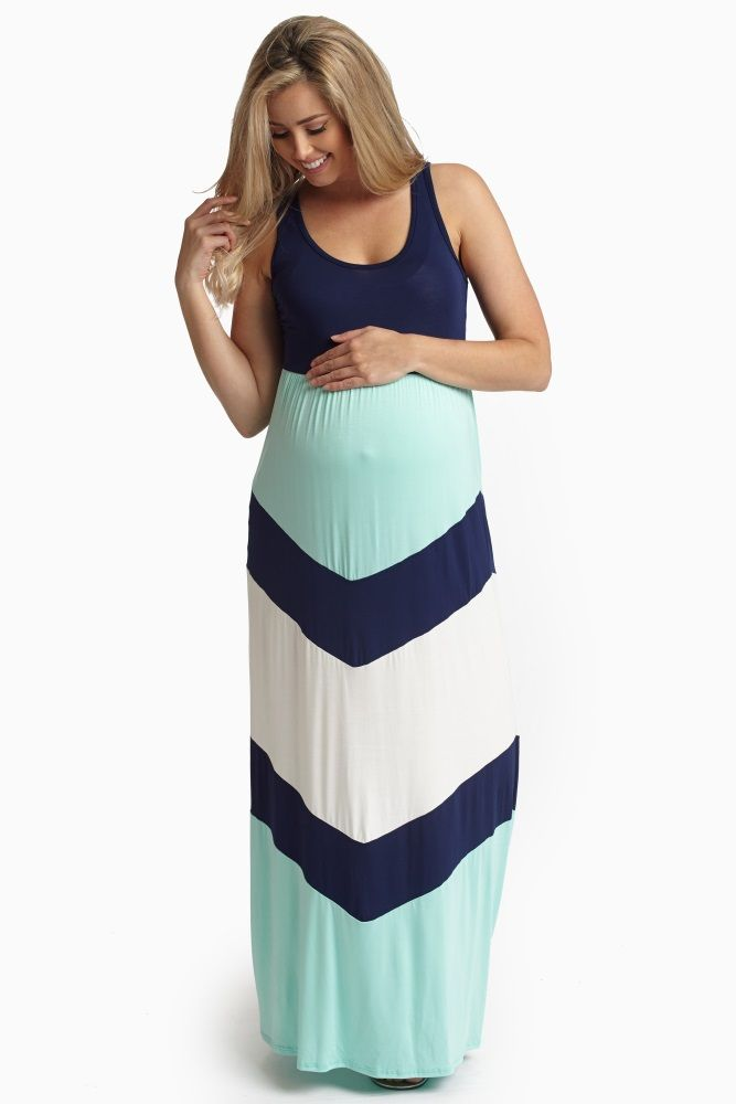Navy-Blue-Chevron-Printed-Bottom-Maternity-Maxi-Dress