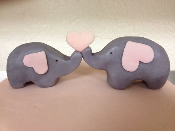 Elephant cake toppers- set of 2 (mom and baby)  on Etsy, $18.00