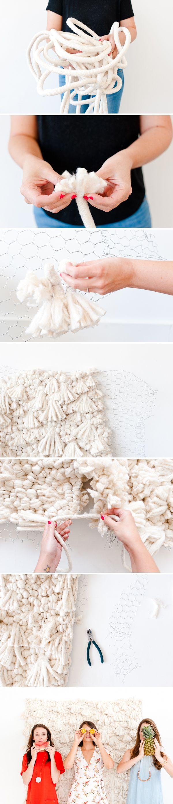 Comment faire un grand stand tissage / photo toile de fond de bricolage à grande échelle.  Cliquez sur le lien pour le tutoriel étape par étape.