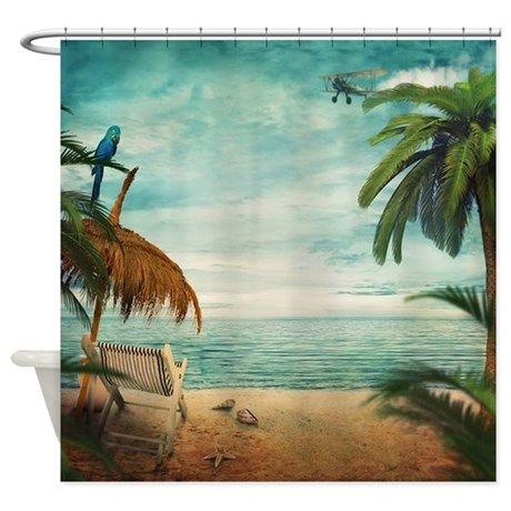 Vintage Beach Shower Curtain on CafePress.com