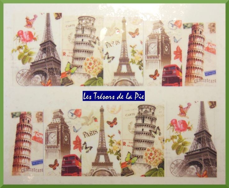 STICKERS ONGLES WATER DECAL (x10) - Nail art - Tours Eiffel & Pise - Multicolore