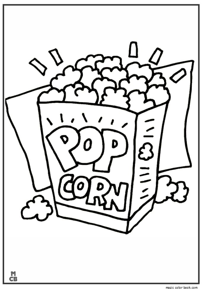 pop corn food coloring pages