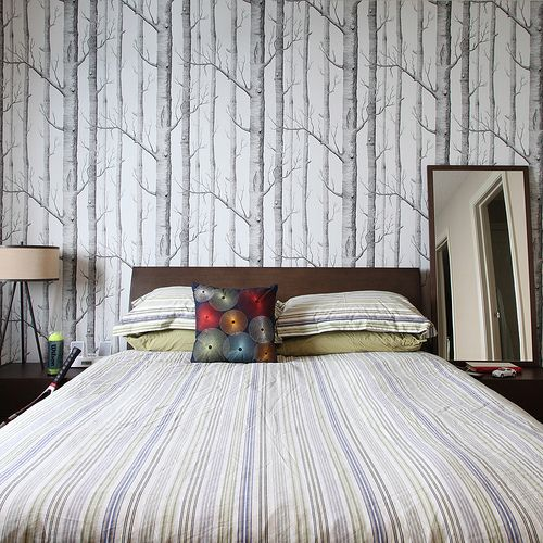 sleeping in a forest - A little too mod for my bedroom idea, I think, but definitely the right spirit: relaxing, and foresty.