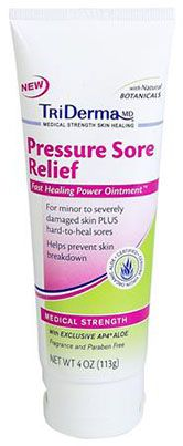 Pressure Sore Relief™ This concentrated cream is specifically formulated to help promote fast healing for minor to severely damaged skin from skin breakdown, pressure sores, bed sores or other hard to heal skin irritations. Since it is not greasy it has become a favorite among our customers that use wheelchairs, have prosthetic limbs or are bed-ridden to help keep skin healthy and from breaking down. $25.00