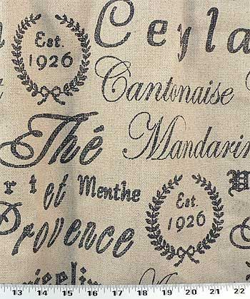 Drapery Upholstery Fabric French Script on Rustic Linen | eBay