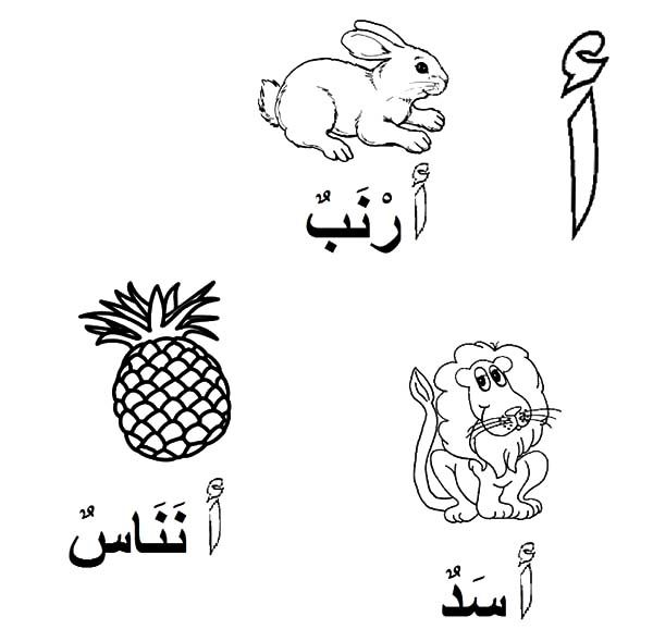 Arabic Alphabet For Lion Rabbit And Pineapple Coloring Pages Best Place To Color Arabic Alphabet Alphabet Coloring Pages Arabic Alphabet Chart