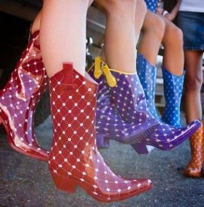oh my.  so cute polkadot cowboy rain boots. Need some with as much rain NC has seen recently!!