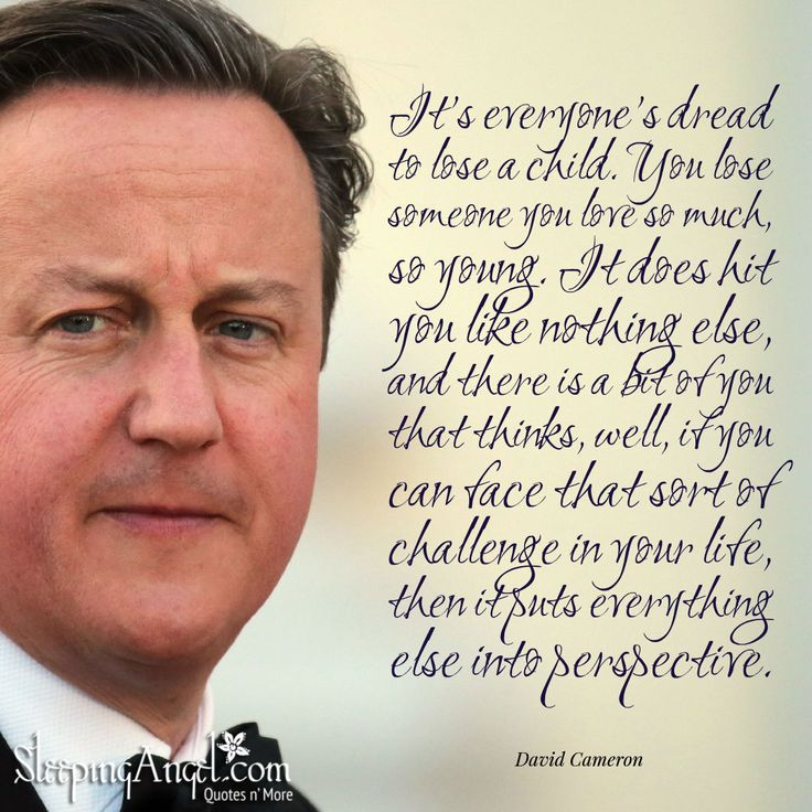 It's everyone's dread to lose a child. You lose someone you love so much, so young. It does hit you like nothing else, and there is a bit of you that thinks, well, if you can face that sort of challenge in your life, then it puts everything else into perspective. ~David Cameron sleepingangel.com