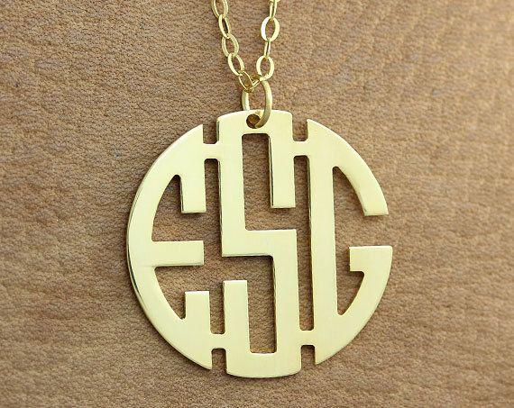 Monogram Necklace - 1.25 inch Personalized Monogram Necklace - Gold Monogram Necklace - Block Font on Etsy, $14.00