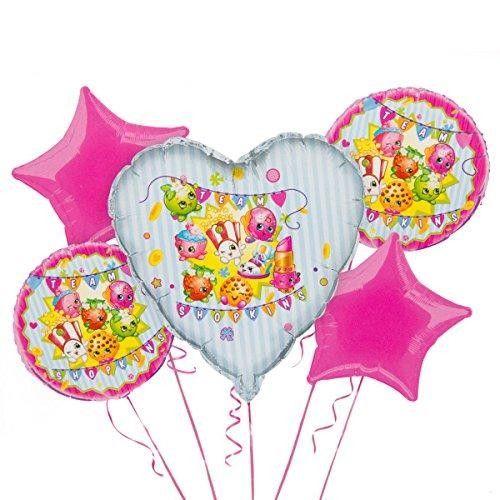 5 ballons Shopkins 1 coeur, 2 ronds et 2 étoiles - Castello   Jeux et Jouets