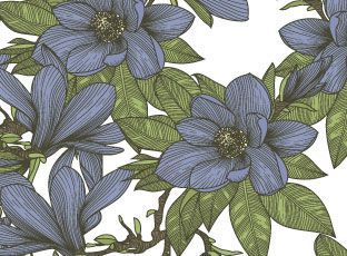 Pattern Blue Magnolia