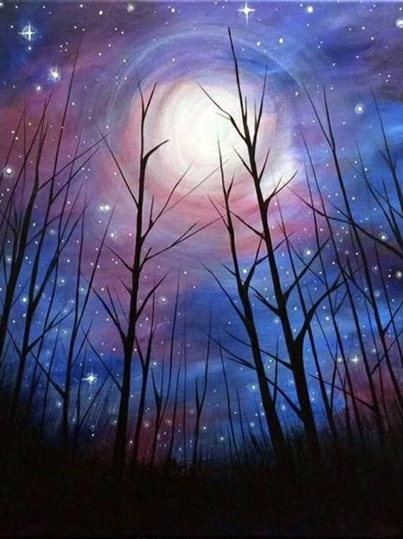 5D DIY Diamond Painting Starry Sky Tree Cross Stitch Full