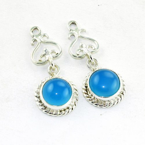 Solid 925 Sterling Silver #Blue #Chalcedony #Earring #Jewelry from Akrati Jewels Inc.