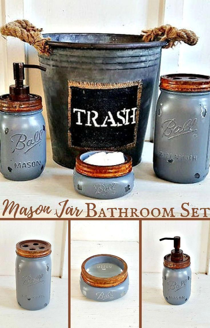 Rustic Bathroom Accessories Sets Perfect I Love This Rustic Mason Jar Bathroom Set With The