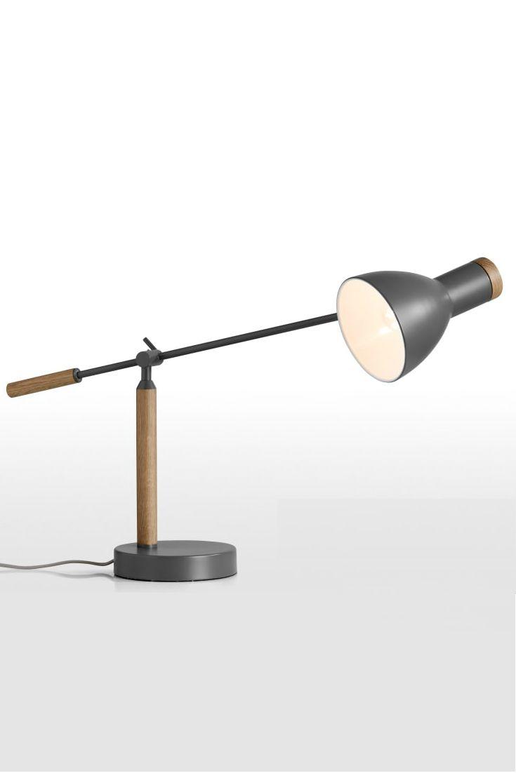 Cohen Tischlampe In Tiefgrau Und Amerikanischer EIche Das Natrliche Holz Die Edle Farbe Schaffen