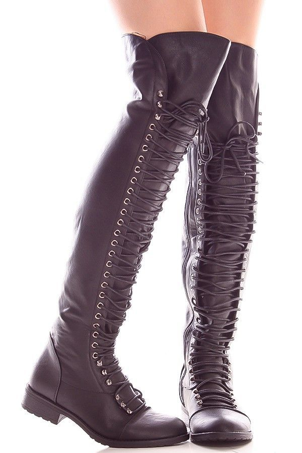 4bf43f76f35 Black faux leather side zipper over the knee high boots  overthekneeboots   overthekneehighboots