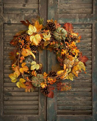 "28"" Bountiful Harvest Wreath by Park Hill Collections at Horchow."