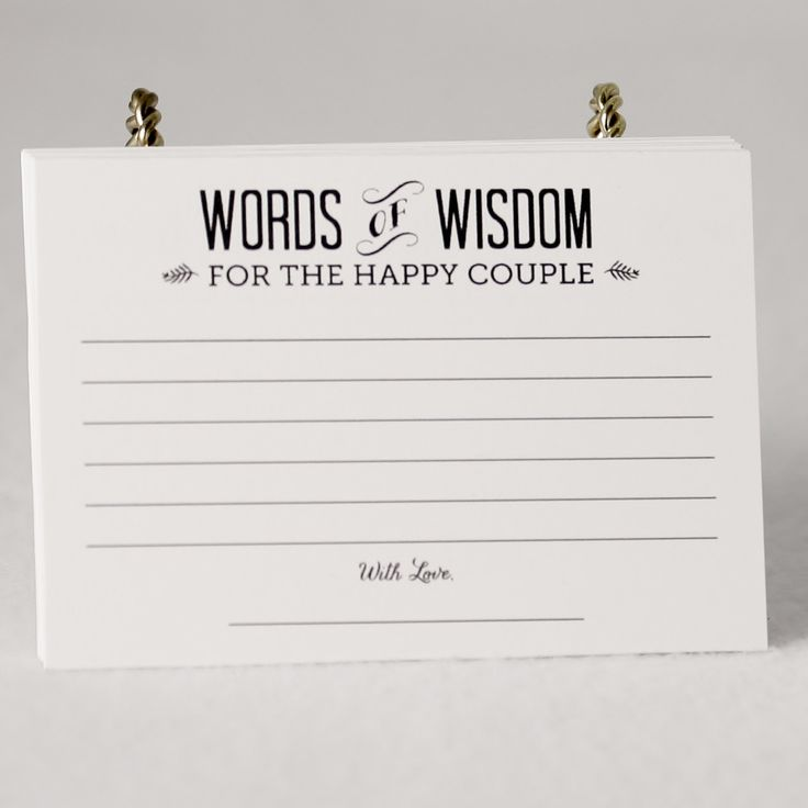 "One set of (36) 4""X3"" paper cards (printed on 110 lb cardstock) that read ""Words of Wisdom for the Happy Couple"" on one side and on the back side ""The Secret to a Happy Marriage is...."" with ruled lin"