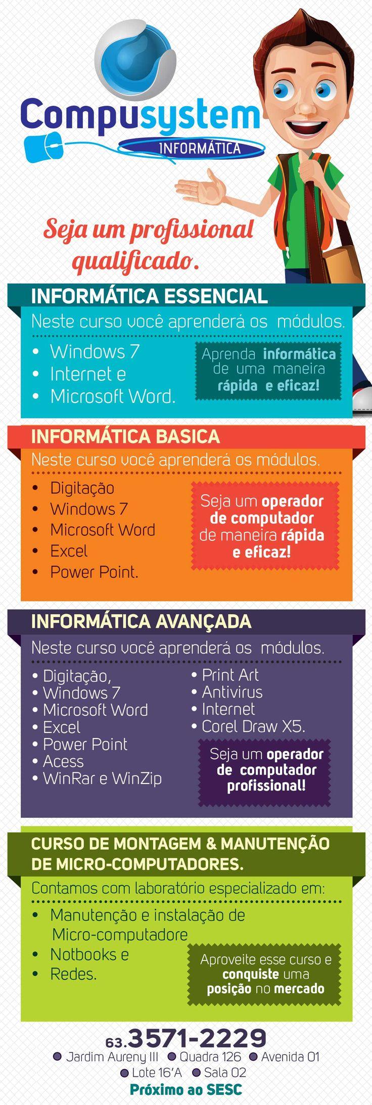 Panfleto campanha de inauguração da escola de informatica Compusystem em Palmas-Tocantins.
