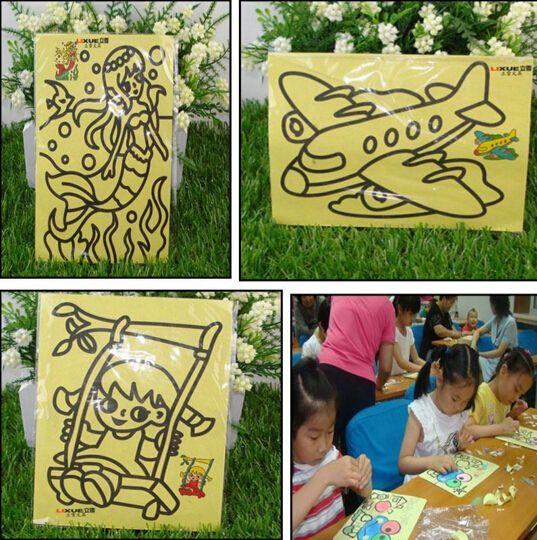 10 PCS/LOT 12 X 16 CM anak-anak anak-anak menggambar mainan, Lukisan pasir, Gambar anak kerajinan DIY mainan pendidikan, Pola acak