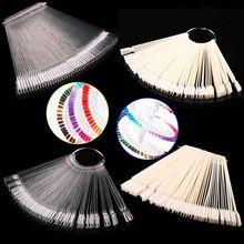 Moda de nova 50 PCS. Overhead Fan-Shaped Exibição Nail Art Fan Roda Polonês Prática Dica UV Gel Polonês Varas etiqueta Da Arte Do Prego alishoppbrasil